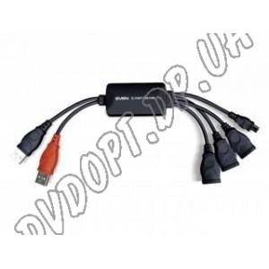HUB ext USB 2.0 Hardity HB-008 Black, 3 ports USB + mini-USB