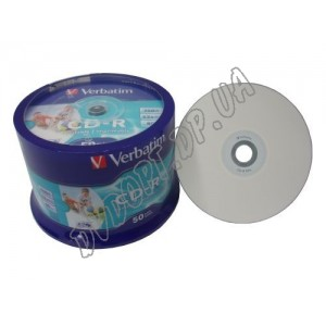 CD диск Verbatim CD-R 700MB 80min (box 50) 52x printable