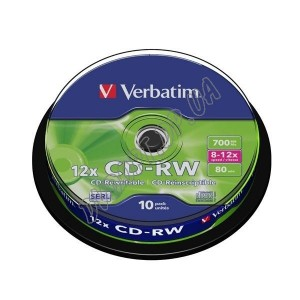 CD диск Verbatim CD-RW 700MB 80min box 10