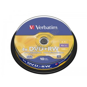 DVD диск Verbatim DVD+RW 4,7Gb  box 10 4x