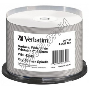 DVD диск Verbatim DVD-R 4,7Gb  box 50 16x printable Silver
