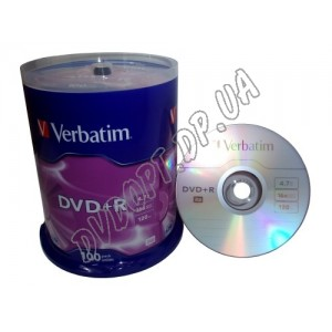 DVD диск Verbatim DVD+R 4,7Gb box 100 16x