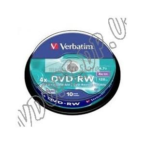 DVD диск Verbatim DVD-RW 4,7Gb  box 10 4x