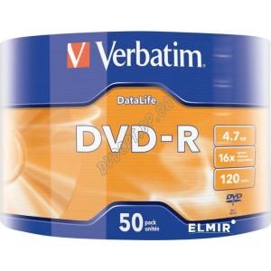 DVD диск Verbatim DVD-R Data Life 4,7Gb (bulk 50) 16x Taiwan (43791)