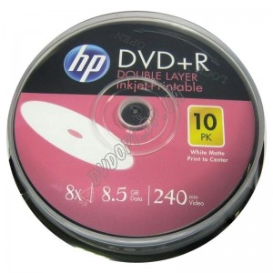 DVD диск HP DVD+R 8,5Gb DL printable box 10 8x