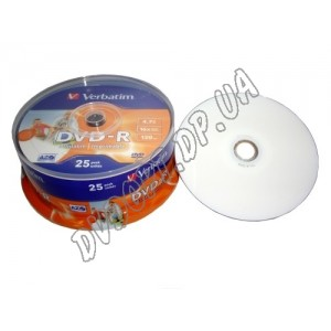 DVD диск Verbatim DVD-R 4,7Gb  box 25 16x printable